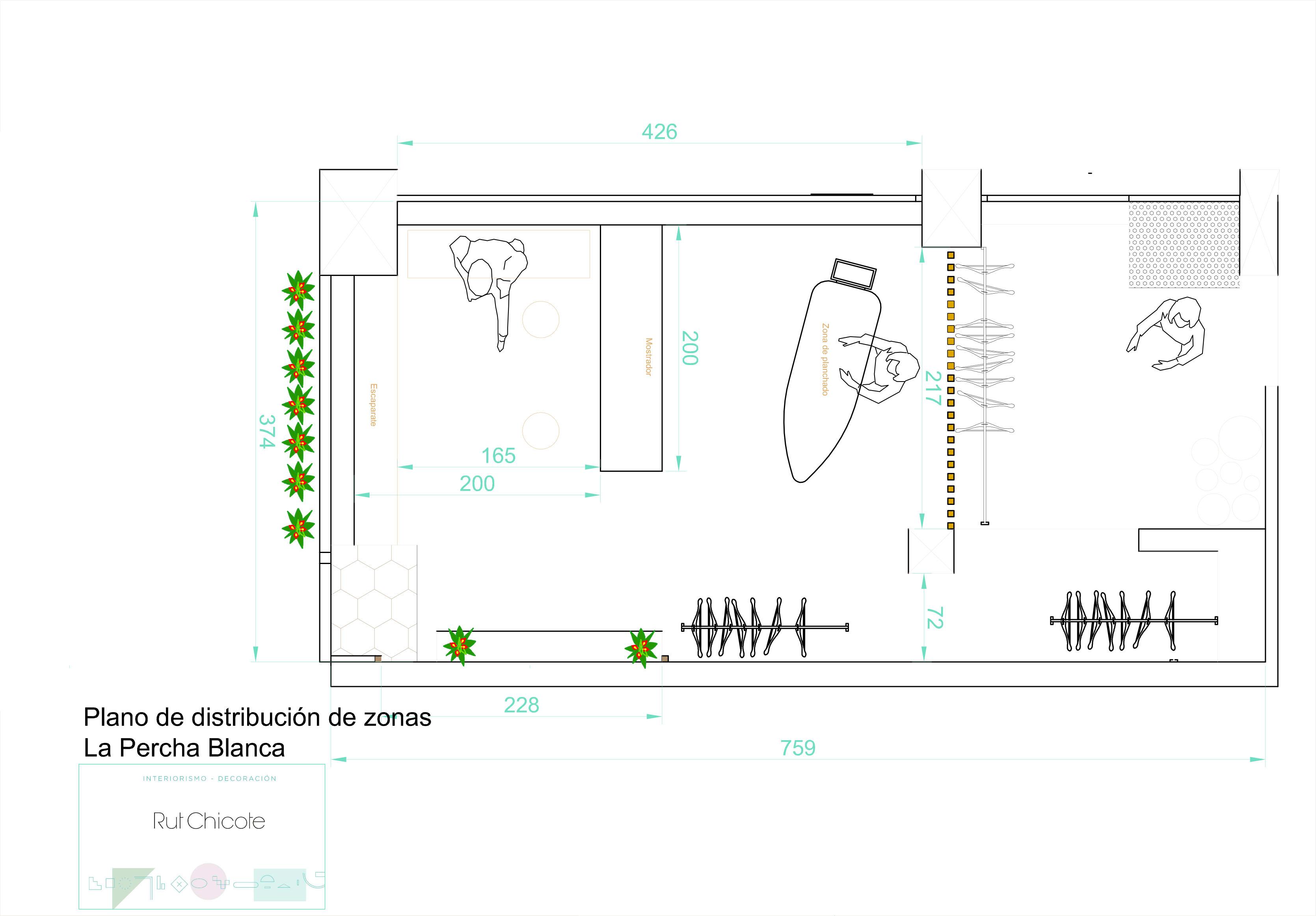 Proyectos de interiorismo. Tíntorería La Percha Blanca